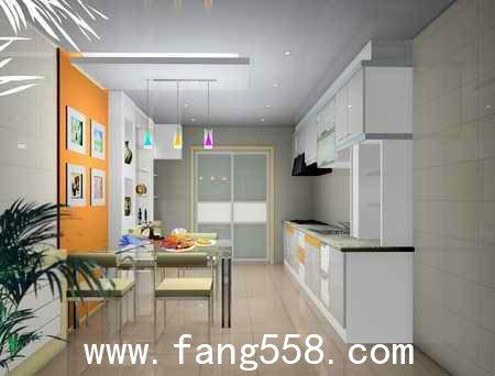 楼中楼客厅装修效果图:厨房与餐厅一体